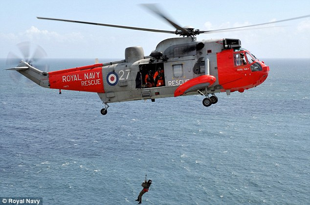 Helicopters such as the Royal Navy Sea King went out on the mission