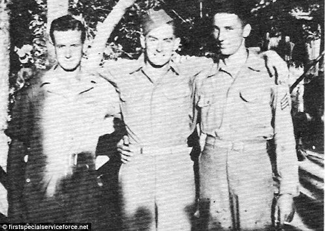 Men at War: Joe Glass (centre) with fellow soldiers Paul L Prosise (left) and  Lorin Waling (right) during the Second World War