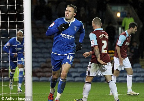 Mutch too good: The Birmingham midfielder celebrates his strike