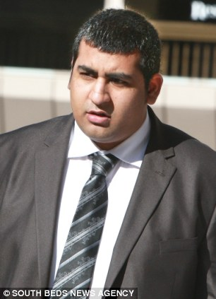 Accused: Ravi Sandhu, 24, of Bedford, is alleged to have punched Mr Harrison during the argument in the early hours of September 11 last year