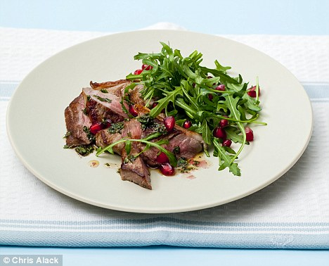 Lamb steaks with mint and pomegranate