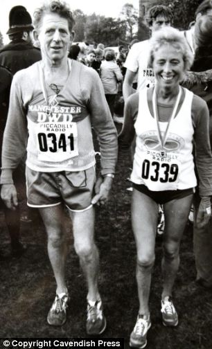 Running together: Muriel Brown and her husband Walter at an athletics meet in the 1980s