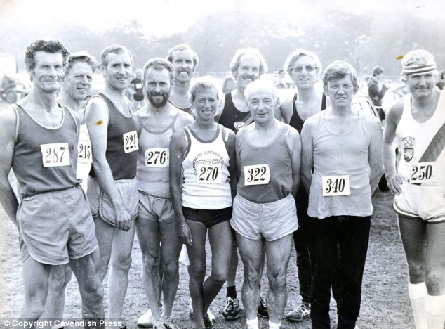 Mrs Brown, wearing number 270, has been running for many years. She is pictured here with her husband Walter, 215, at an athletics meet in 1981