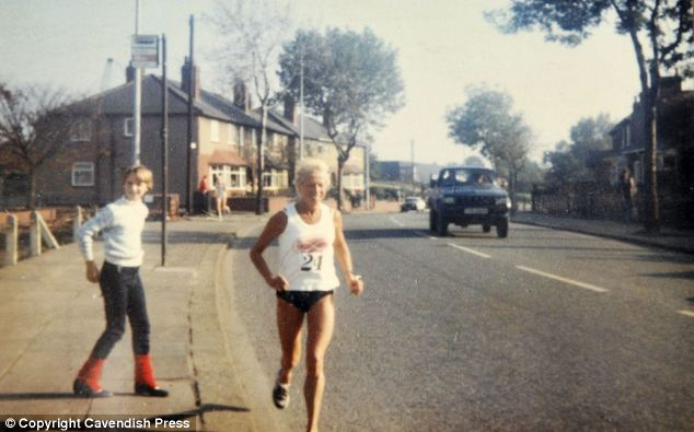 Muriel Brown in competition in the 1980s. She has run for East Cheshire Harriers for 64 years and been a veteran world champion