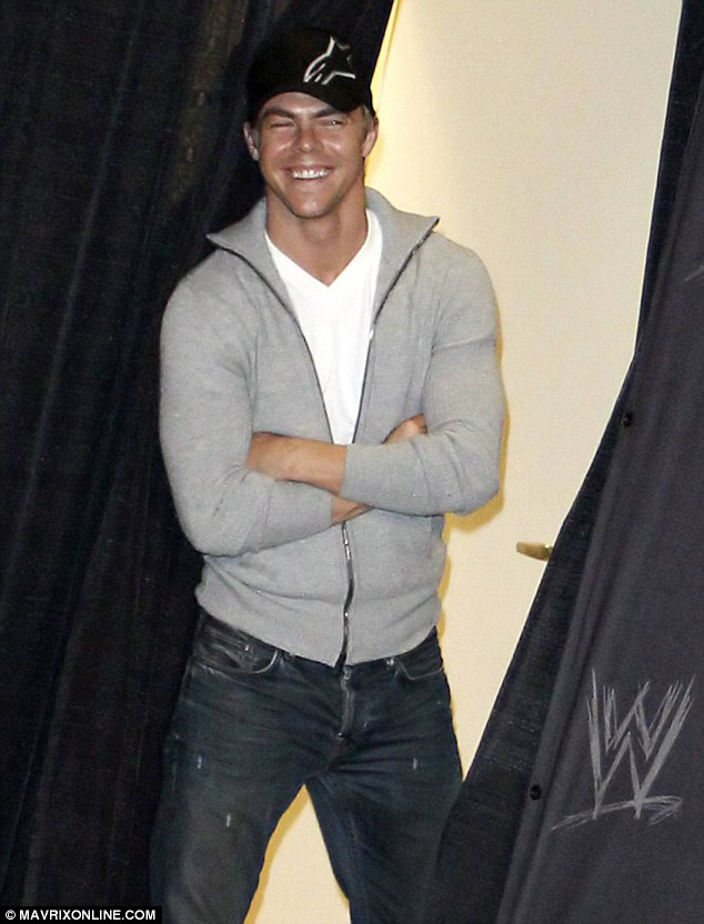 Support: Maria was competing at the event, and Derek was seen lingering in the wings as the stunning host greeted press and her fans at a press conference