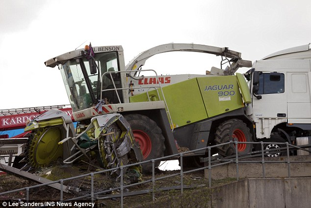 Witnesses to the crash claimed they saw the combine harvester driver get back into the vehicle to retrieve his possessions