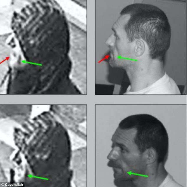 Officers noted the contours of Pearson's left cheek using a still from the CCTV image
