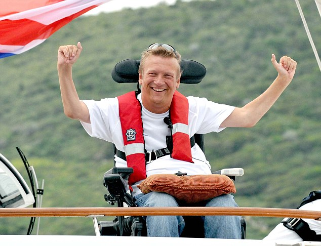 Triumphant: Geoff Holt contended with storms and ferocious seas during his solo 2-700 mile voyage across the Atlantic ocean