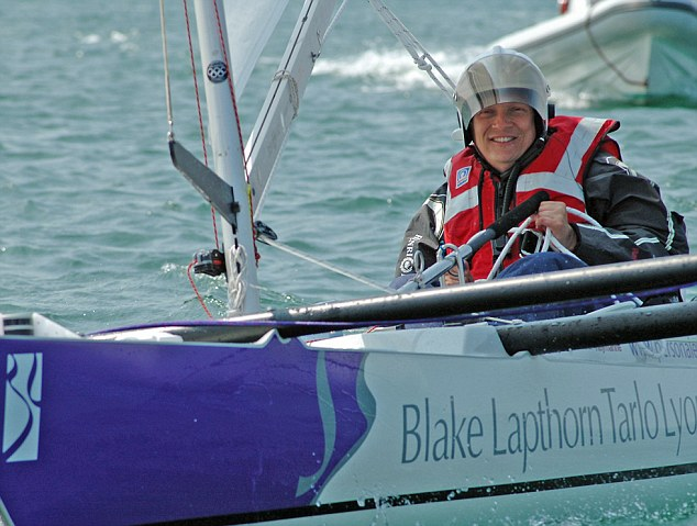 Determined: Geoff Holt competed in the Round Britain Adventure in a Challenger Trimaran despite being disabled in a swimming accident that left him handicapped