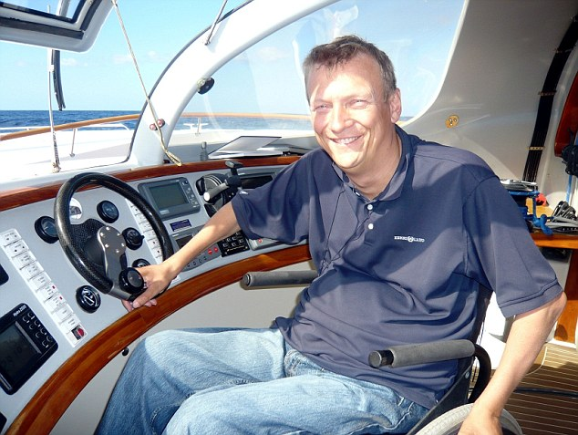 Record-breaker: Geoff Holt became the first disabled person ever to circumnavigate Great Britain in 2007