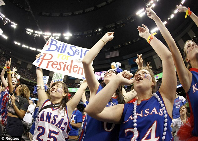 Gearing up: Kansas Jayhawks fans were celebrating ahead of the start of the game