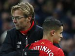"""Football - Manchester City v Liverpool - Barclays Premier League - Etihad Stadium - 21/11/15  Liverpool's Philippe Coutinho is congratulated by manager Juergen Klopp as he is substituted  Reuters / Phil Noble  Livepic  EDITORIAL USE ONLY. No use with unauthorized audio, video, data, fixture lists, club/league logos or """"live"""" services. Online in-match use limited to 45 images, no video emulation. No use in betting, games or single club/league/player publications.  Please contact your account representative for further details."""
