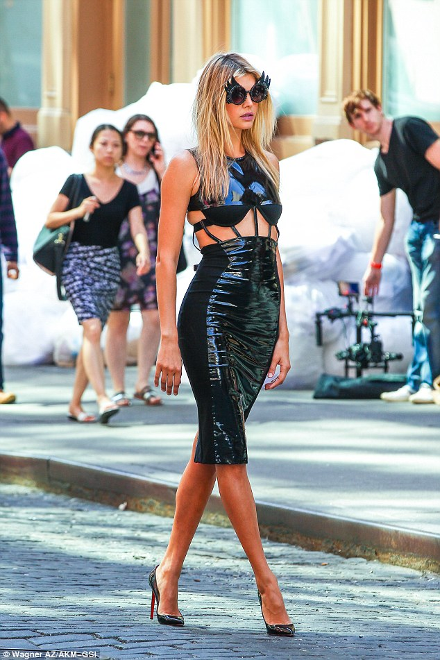Saucy: Sports Illustrated model Kelly Rohrbach turned up the heat on the streets of NYC on Friday