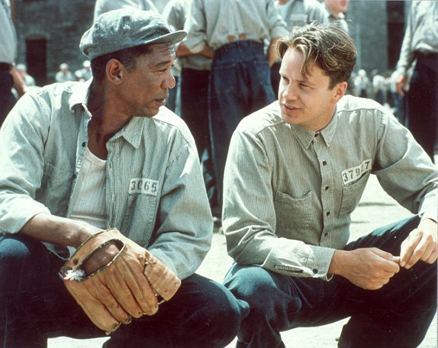 Bizarre coincidence: He described how prison escape film The Shawshank Redemption, starring Morgan Freeman (left) and Tim Robbins was playing at the hotel where she was questioned