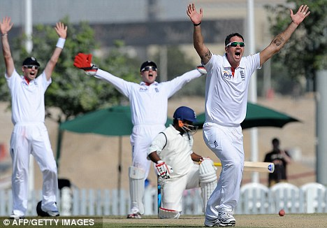 Not out:  Kevin Pietersen leads an unsuccessfully LBW appeal for the nuggety Mohammed Shahzad, who would reach 74