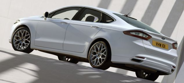 Bigger, faster: The family saloon - usually driven by 'Mondeo Man' -  will go on sale in the UK next year