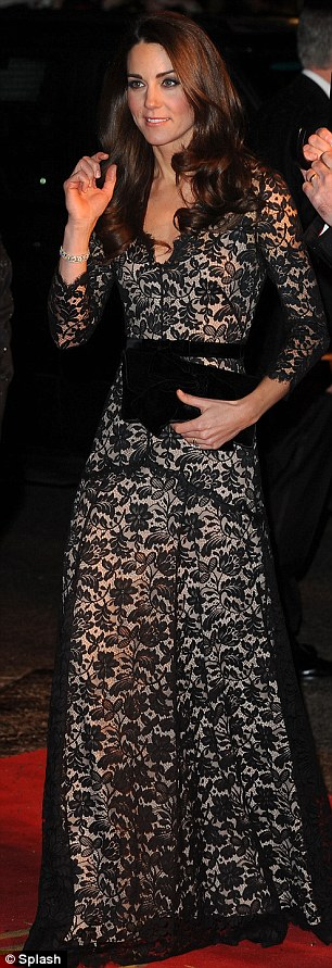 Kate, wearing lace Alice Temperley, spent the eve of her 30th birthday at the War Horse premiere in London