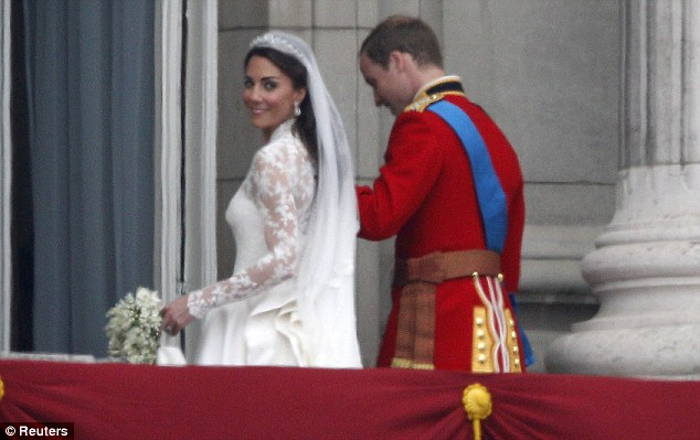 2010: Kate, 29, wears lace again at her own spectacular wedding at Westminster Abbey. The word watched entranced as she appears, a princess at Buckingham Palace