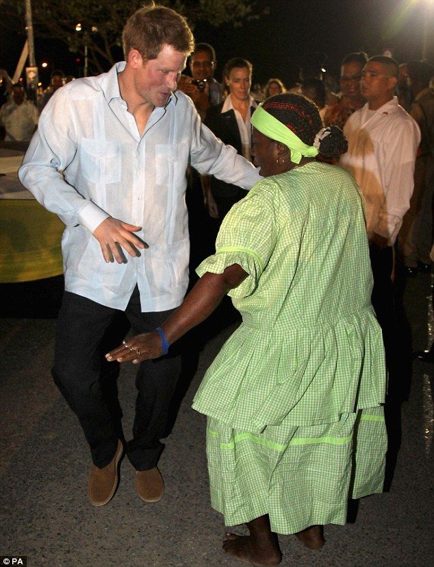 Prince Harry was dancing with the locals at a 'block party' in the Belize capital Belmopan, in March as part of a Diamond Jubilee tour