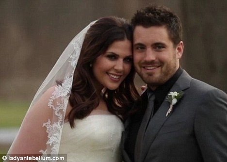 The bride and groom: The video contains footage of the pair in their wedding outfits
