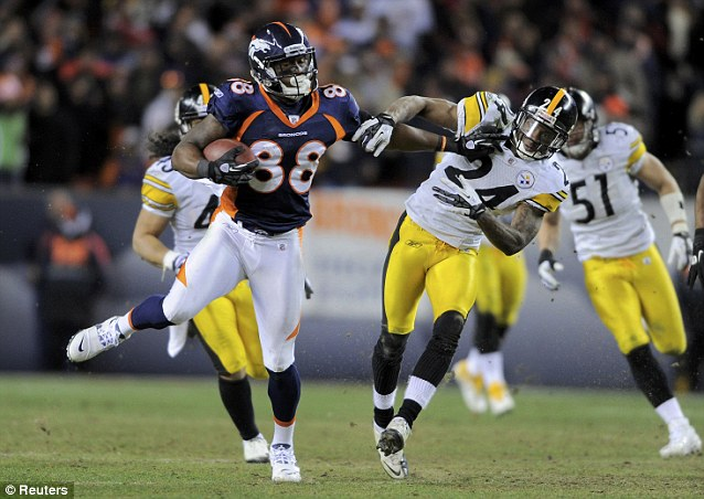 Off: Denver Broncos wide receiver Demaryius Thomas managed to push off defender Pittsburgh Steelers cornerback Ike Taylor after catching the scoring 80-yard pass from Tebow