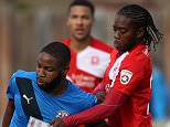THURROCK, ENGLAND - OCTOBER 25:  Dumebi GB-Dumaka of Grays Athletic and Xavier Vidal of Welling United in action during The Emirates FA Cup Qualifying Fourth Round match between Grays Athletic and Welling United at Mill Field on October 25, 2015 in Thurrock, England.  (Photo by Harry Hubbard/Getty Images)