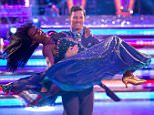 """Embargoed to 2000 Sunday November 22 For use in UK, Ireland or Benelux countries only  Undated BBC handout photo of Jamelia and Tristan MacManus performing their final dance during the Strictly Come Dancing results show in Blackpool. PRESS ASSOCIATION Photo. Issue date: Sunday November 22, 2015. Singer Jamelia said she was """"sorry to go"""" as she became the eighth celebrity to leave Strictly Come Dancing. See PA story SHOWBIZ Strictly. Photo credit should read: Guy Levy/BBC/PA Wire NOTE TO EDITORS: Not for use more than 21 days after issue. You may use this picture without charge only for the purpose of publicising or reporting on current BBC programming, personnel or other BBC output or activity within 21 days of issue. Any use after that time MUST be cleared through BBC Picture Publicity. Please credit the image to the BBC and any named photographer or independent programme maker, as described in the caption."""