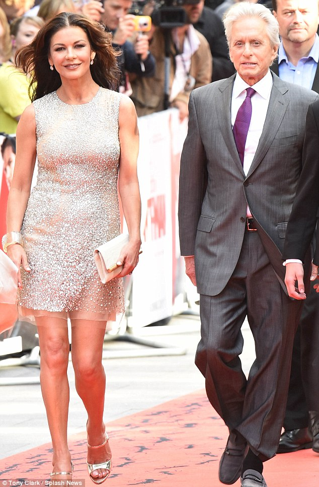 Red Carpet: The actor was in London on Wednesday and appeared at the European premiere of his film Ant-Man with wife, Catherine Zeta-Jones