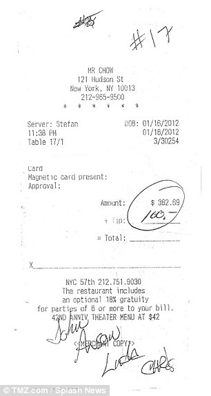 New York dining: A receipt from a meal the Pulp Fiction actor ate at Mr. Chow restaurant in New York on the same day has also emerged
