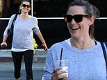 Post workout session, Jennifer Garner and a friend stop at a different coffee shop than their usual place. Jennifer looks happy to get her fix, holding both iced and hot coffee, on route to her friend's car. They head to Jennifer's family therapy session afterwards. Saturday, November 21, 2015 X17online.com