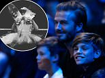 LONDON, ENGLAND - NOVEMBER 21:  David Beckham (C) and his sons, Cruz (L) and Romeo (R) attend the men's singles semi final between Rafael Nadal of Spain and Novak Djokovic of Serbia on day seven of the Barclays ATP World Tour Finals at the O2 Arena on November 21, 2015 in London, England.  (Photo by Julian Finney/Getty Images)