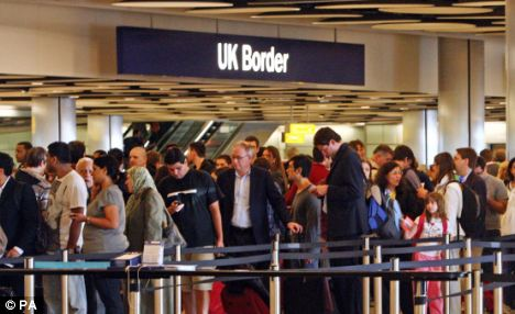 Checks: White air passengers are routinely stopped and searched by customs officials simply to ensure the right racial 'mix' of travellers at Gatwick Airport (pictured)