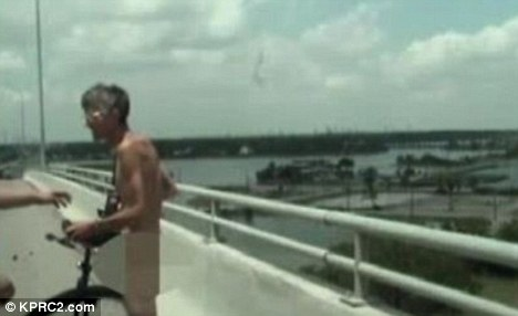 Feeling free? The man was stopped by Texas police because his antics were distracting drivers