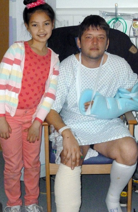 Amy and Simon in the Queen Elizabeth hospital after the vicious attack.