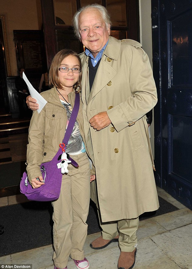 Chip off the old block: Actor David Jason and his 11-year-old daughter Sophie attend the 1st anniversary performance of Shrek: The Musical in London last night