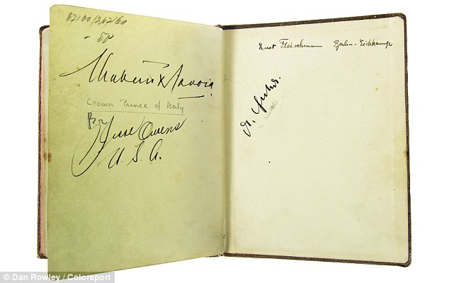 £3,000-£5,000: A £1,500 autograph book belonging to British athlete Grethe Whitehead, who managed to collect the signatures of Jesse Owens