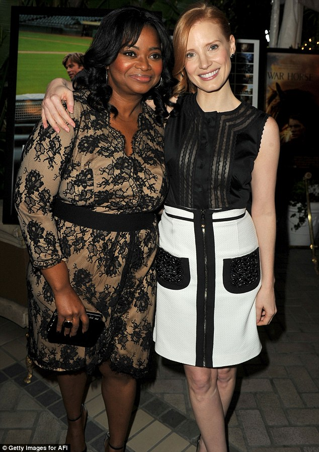 Close co-stars: The Help actresses Octavia Spencer and Jessica Chastain wear black lace plus monochrome