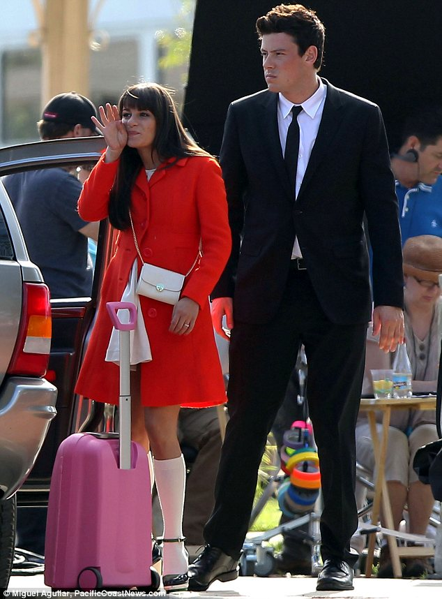 On and off-screen romance: Lea's character Rachel Berry has to say goodbye to boyfriend Finn Hudson, played by Cory Monteith