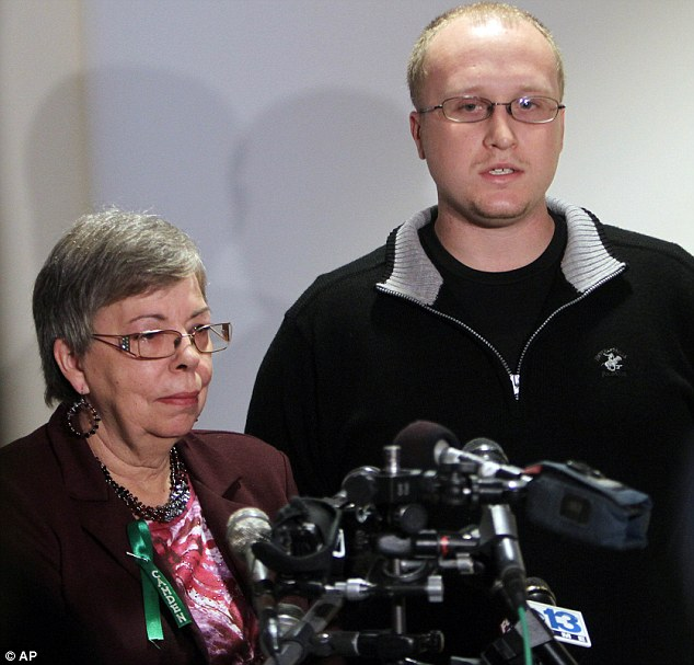 Grief: Julianne McCrery's mother Lu Rae McCrery , left, and Julianne's other son Ian McCrery talk to reporters following a sentencing hearing in Rockingham County Superior Court on Friday
