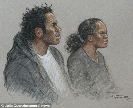 A court drawing from the Old Bailey of Eric Bikubi, 27, and Magalie Bamu, 28
