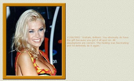 A message attributed to Melinda Messenger also appears on Graham's site