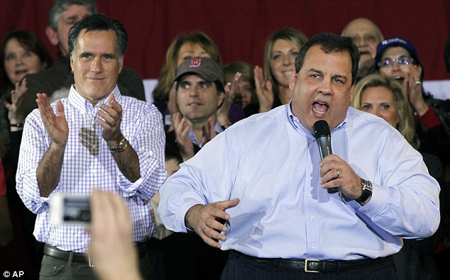 Support: New Jersey Gov Chris Christie has endorsed Mitt Romney, left, for the 2012 Presidential race but said those who underestimate Obama do so at their own peril