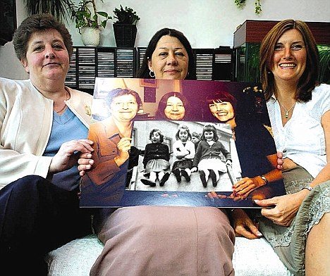 Current day: Jackie, Lynn and Sue, with photos of their younger selves