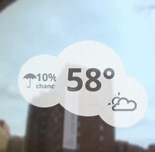 The demonstration shows off a weather forecast layered over a view of the world
