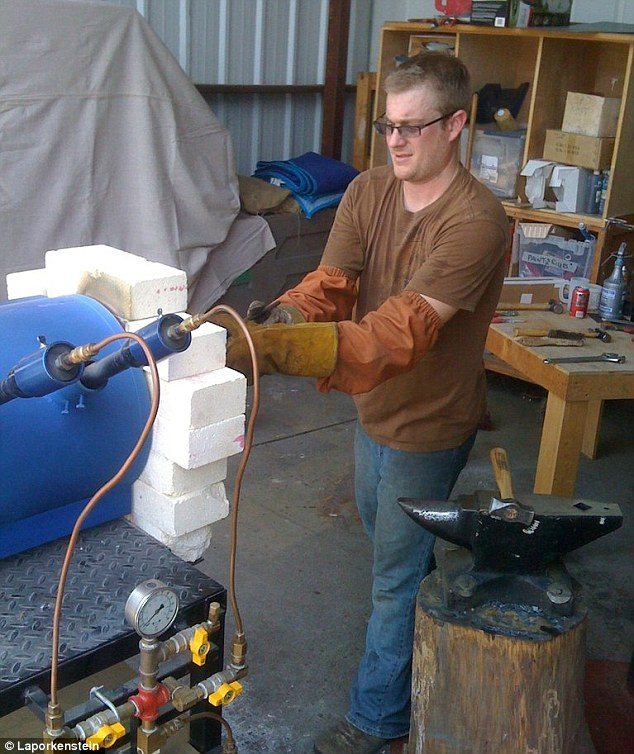 Romantic man: Laporkenstein working hard at the furnace with his ring of love
