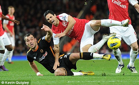 Back: Milijas was controversially sent off on his last trip to north London