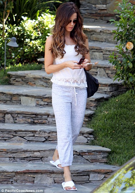 Hey good lookin': Kate Beckinsale leaves her Los Angeles home in casual sweat pants, but still manages to look fantastic