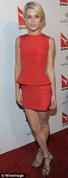 Ladies in red: Miranda and actress Rachel Taylor both opted for dresses in the airline's colour red
