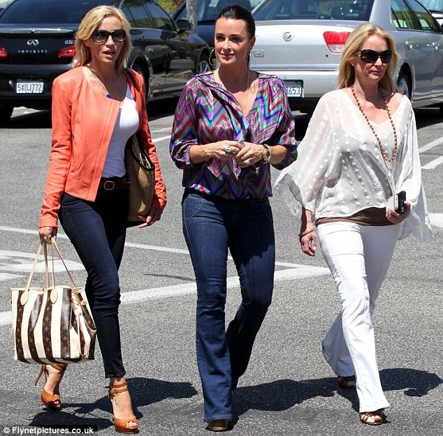 Cast reunion: Camille Grammer lunches with Real Housewives of Beverly Hills stars Kyle and Kim Richards in Calabasas, California, today