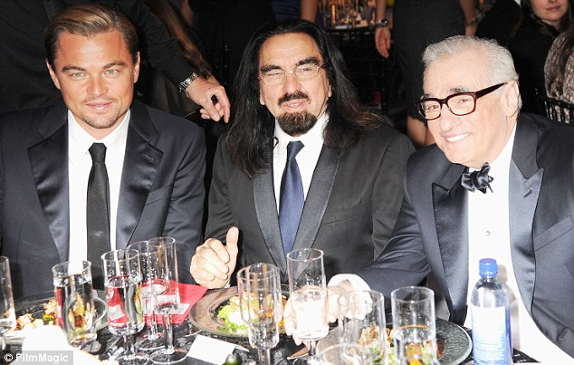 Enjoying their night: Leonardo DiCaprio, his father George DiCaprio and director Martin Scorsese sat together for dinner